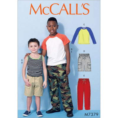 McCall's Pattern M7379 Childrens Boys Raglan Sleeve and Tank Tops Cargo Shorts and Pants 7379 Image 1 From Patternsandplains.com