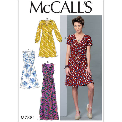 McCall's Pattern M7381 Misses Pleated Dresses with Optional Front Tie 7381 Image 1 From Patternsandplains.com