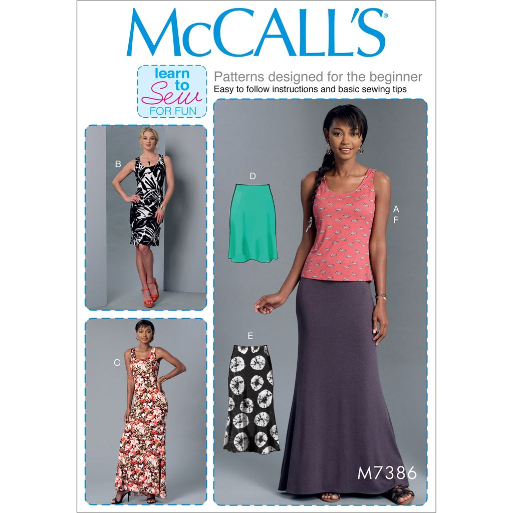 McCall's Pattern M7386 Misses Knit Tank Top Dresses and Skirts 7386 Image 1 From Patternsandplains.com