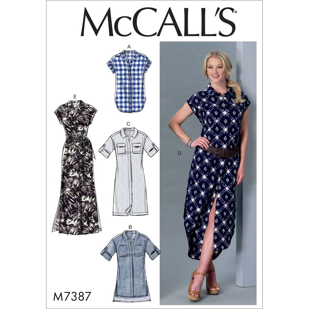 McCall's Pattern M7387 Misses Button Down Top Tunic Dresses and Belt 7387 Image 1 From Patternsandplains.com