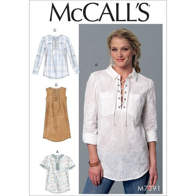 McCall's Pattern M7391 Misses Laced or Split Neck Tops and Dress 7391 Image 1 From Patternsandplains.com