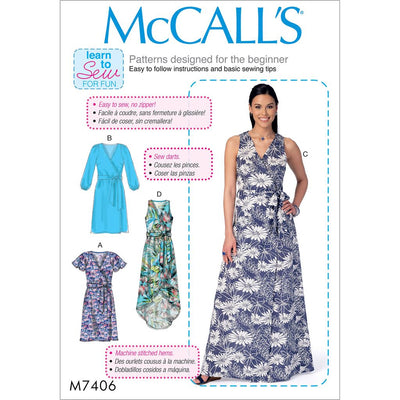 McCall's Pattern M7406 Misses Dresses and Belt 7406 Image 1 From Patternsandplains.com