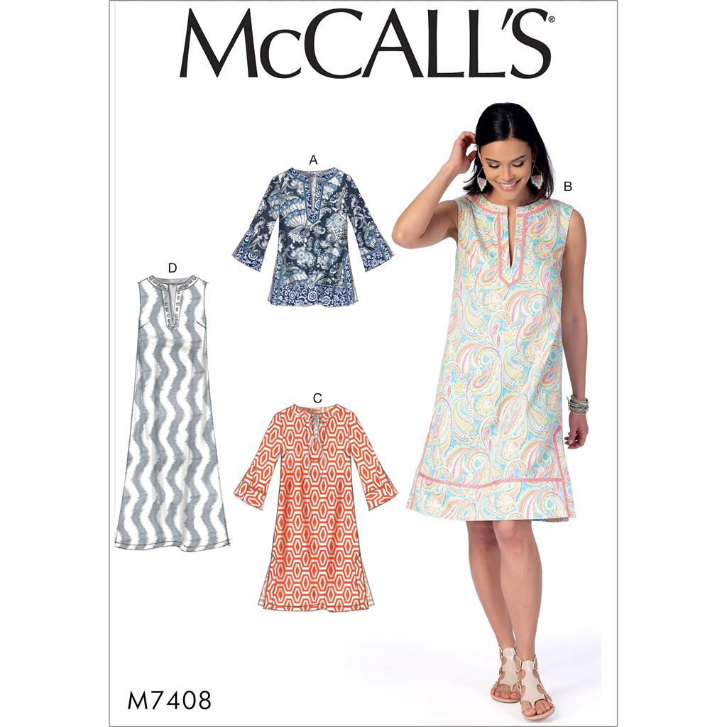 McCall's Pattern M7408 Misses Tunic and Dresses 7408 Image 1 From Patternsandplains.com