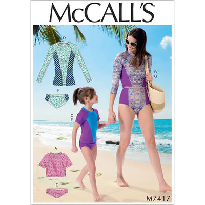 McCall's Pattern M7417 Misses Girls Swimsuits 7417 Image 1 From Patternsandplains.com