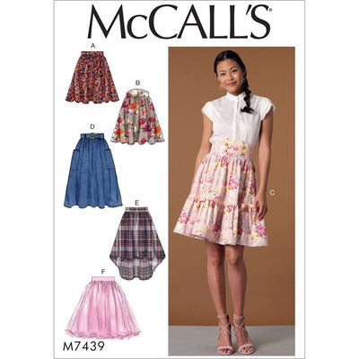 McCall's Pattern M7439 Misses Gathered and Flared Skirts with Belt 7439 Image 1 From Patternsandplains.com