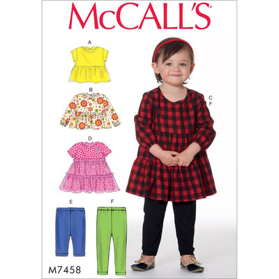 McCall's Pattern M7458 Toddlers Gathered Tops Dresses and Leggings 7458 Image 1 From Patternsandplains.com