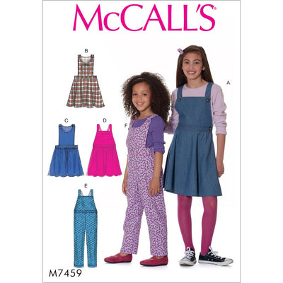 McCall's Pattern M7459 Childrens Girls Jumpers and Overalls 7459 Image 1 From Patternsandplains.com