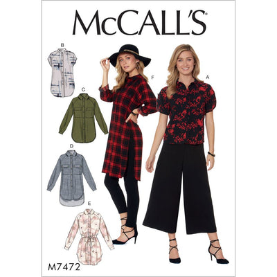 McCall's Pattern M7472 Misses Raglan Sleeve Button Down Shirts and Tunics 7472 Image 1 From Patternsandplains.com