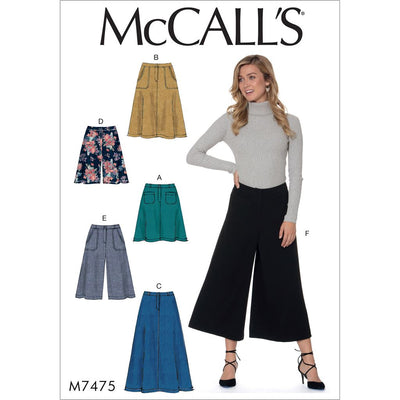 McCall's Pattern M7475 Misses Flared Skirts Shorts and Culottes 7475 Image 1 From Patternsandplains.com