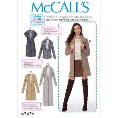 McCall's Pattern M7476 Misses Drop Shoulder Vest and Cardigans 7476 Image 1 From Patternsandplains.com