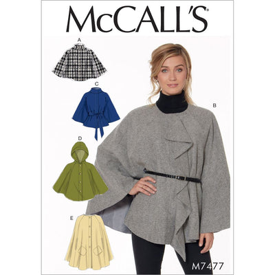 McCall's Pattern M7477 Misses Hooded Collared or Collarless Capes 7477 Image 1 From Patternsandplains.com