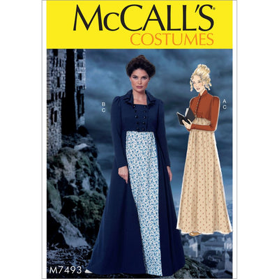 McCall's Pattern M7493 Cropped Jacket Floor Length Coat and A Line Square Neck Dress 7493 Image 1 From Patternsandplains.com