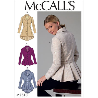 McCall's Pattern M7513 Misses Notch Collar Peplum Jackets 7513 Image 1 From Patternsandplains.com
