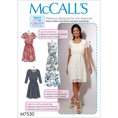 McCall's Pattern M7530 Misses Gathered Waist Scoopneck Dresses 7530 Image 1 From Patternsandplains.com