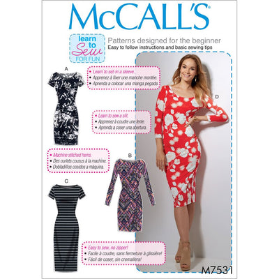 McCall's Pattern M7531 Misses Knit Bodycon Dresses 7531 Image 1 From Patternsandplains.com