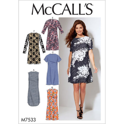 McCall's Pattern M7533 Misses Womens Fitted Sheath Dresses 7533 Image 1 From Patternsandplains.com