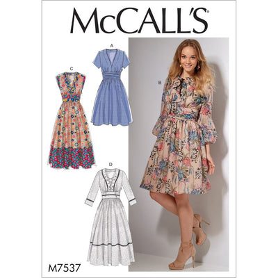 McCall's Pattern M7537 Misses Banded Gathered Waist Dresses 7537 Image 1 From Patternsandplains.com