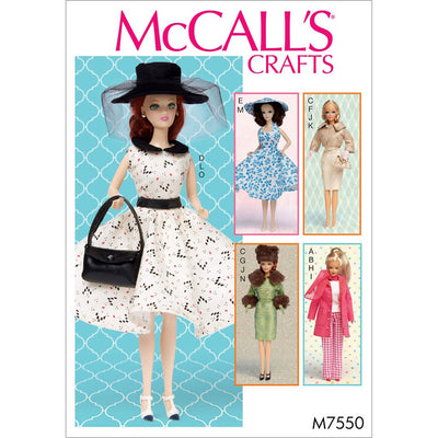 McCall's Pattern M7550 Retro Style Clothes and Accessories for 11and a half Doll 7550 Image 1 From Patternsandplains.com