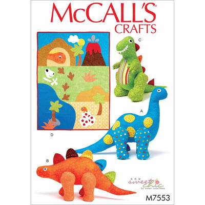 McCall's Pattern M7553 Dinosaur Plush Toys and Appliqu and eacute;d Quilt 7553 Image 1 From Patternsandplains.com