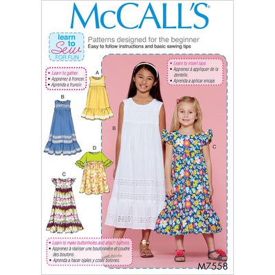 McCall's Pattern M7558 Childrens Girls Sleeveless and Ruffle Sleeve Empire Waist Dresses 7558 Image 1 From Patternsandplains.com
