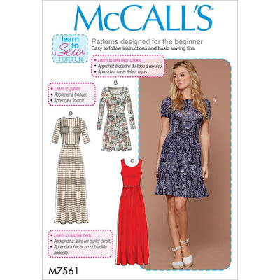 McCall's Pattern M7561 Misses Pullover Gathered Waist Knit Dresses with Sleeve and Hem Options 7561 Image 1 From Patternsandplains.com