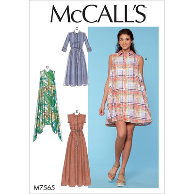 McCall's Pattern M7565 Misses Shirtdresses with Sleeve Options and Belt 7565 Image 1 From Patternsandplains.com