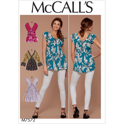 McCall's Pattern M7572 Misses V Neck Gathered Tops with Sleeve and Tie Variations 7572 Image 1 From Patternsandplains.com