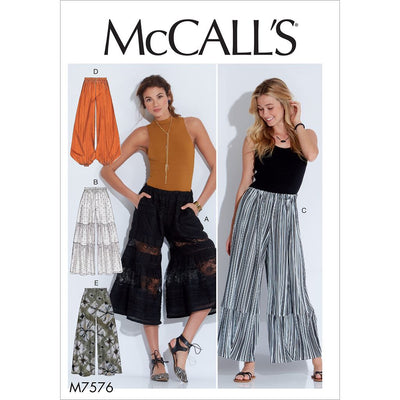 McCall's Pattern M7576 Misses Elastic Waist Loose Pants 7576 Image 1 From Patternsandplains.com