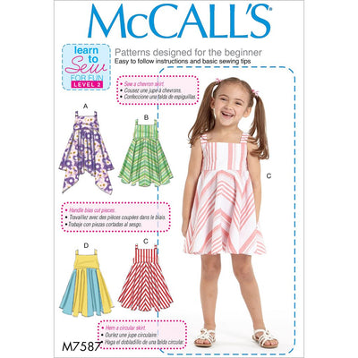 McCall's Pattern M7587 Childrens Girls Dresses with Square Neck and Circular Skirt Variations 7587 Image 1 From Patternsandplains.com