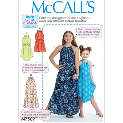 McCall's Pattern M7589 Childrens Girls Gathered Neckline Sleeveless Dresses 7589 Image 1 From Patternsandplains.com
