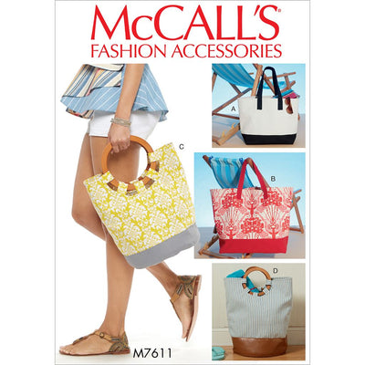 McCall's Pattern M7611 Misses Lined Tote Bags with Contrast Variations 7611 Image 1 From Patternsandplains.com