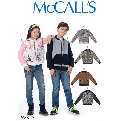 McCall's Pattern M7619 Childrens Girls Boys Bomber Jackets 7619 Image 1 From Patternsandplains.com