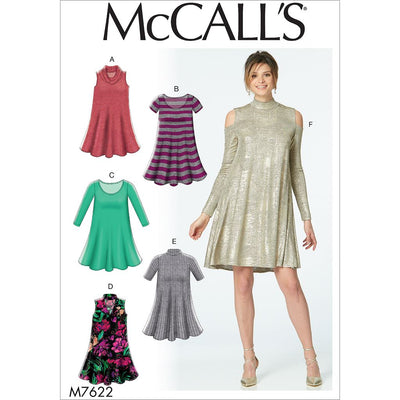 McCall's Pattern M7622 Misses Knit Swing Dresses with Neckline and Sleeve Variations 7622 Image 1 From Patternsandplains.com
