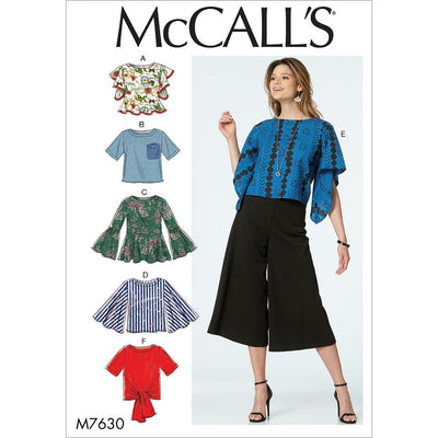McCall's Pattern M7630 Misses Tops with Sleeve and Hem Variations 7630 Image 1 From Patternsandplains.com