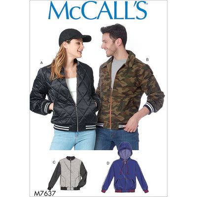 McCall's Pattern M7637 Misses and Mens Bomber Jackets 7637 Image 1 From Patternsandplains.com