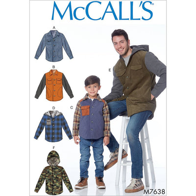 McCall's Pattern M7638 Mens and Boys Lined Button Front Jackets with Hood Options 7638 Image 1 From Patternsandplains.com