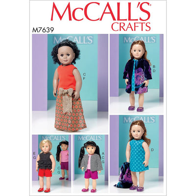 McCall's Pattern M7639 Clothes for 18 Dolls 7639 Image 1 From Patternsandplains.com