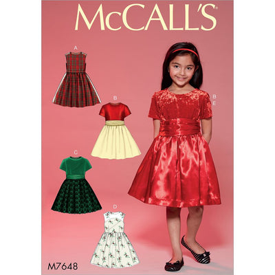 McCall's Pattern M7648 Childrens Girls Gathered Dresses with Petticoat and Sash 7648 Image 1 From Patternsandplains.com
