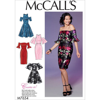 McCall's Pattern M7654 Misses Miss Petite Dresses with Mix and Match Shoulder Sleeve and Skirt Variations 7654 Image 1 From Patternsandplains.com