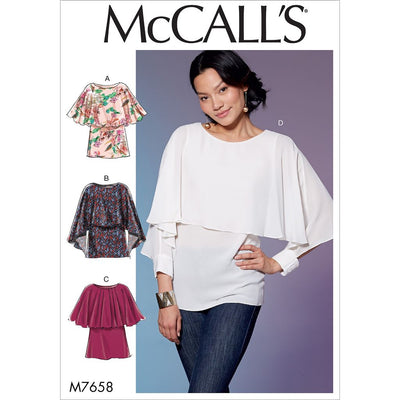 McCall's Pattern M7658 Misses Tops with Overlay 7658 Image 1 From Patternsandplains.com