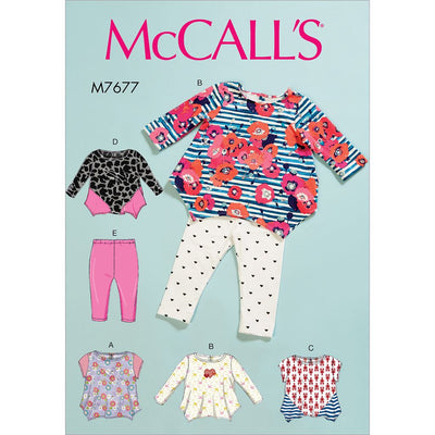 McCall's Pattern M7677 Infants Contrast Tops and Leggings 7677 Image 1 From Patternsandplains.com