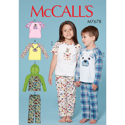 McCall's Pattern M7678 Childrens Boys Girls Animal Themed Tops and Pants 7678 Image 1 From Patternsandplains.com