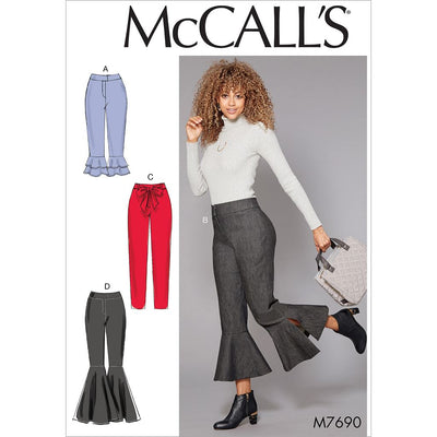McCall's Pattern M7690 Misses Pants With Flounce Variations and Sash 7690 Image 1 From Patternsandplains.com