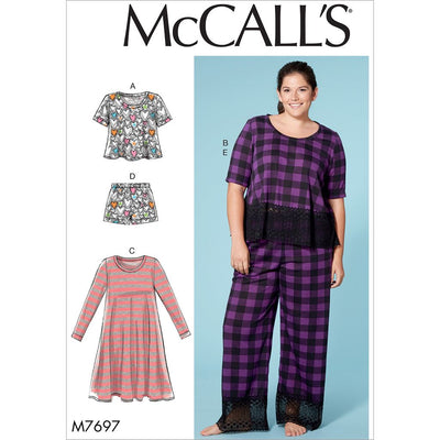 McCall's Pattern M7697 Misses Womens Lounge Tops Dress Shorts and Pants 7697 Image 1 From Patternsandplains.com