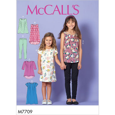McCall's Pattern M7709 Children Girls Tops Dresses and Leggings 7709 Image 1 From Patternsandplains.com