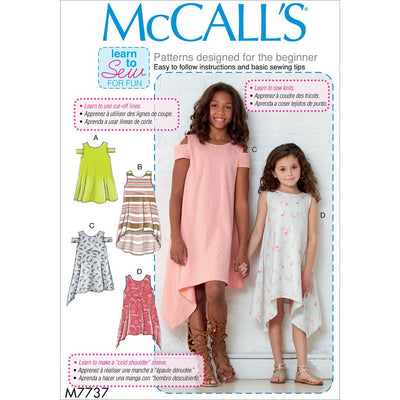 McCall's Pattern M7737 Childrens Girls Dresses 7737 Image 1 From Patternsandplains.com