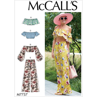 McCall's Pattern M7757 Misses Tops and Pants 7757 Image 1 From Patternsandplains.com