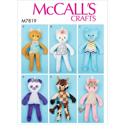 McCall's Pattern M7819 Soft Toy Animals 7819 Image 1 From Patternsandplains.com