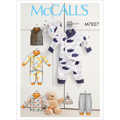 McCall's Pattern M7827 Infants Bunting Jacket Vest Pants and Hat 7827 Image 1 From Patternsandplains.com