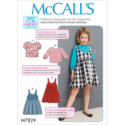 McCall's Pattern M7829 Childrens Girls Tops and Jumpers 7829 Image 1 From Patternsandplains.com